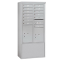 Salsbury Industries 3913D-13AFP Free-Standing 4C Horizontal Mailbox Unit-13 Door High Unit (69-1/4 Inches)-Double Column-13 MB1 Doors / 1 PL5 and 1 PL6-Aluminum-Front Loading-Private Access