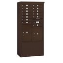 Salsbury Industries 3913D-13ZFP Free-Standing 4C Horizontal Mailbox Unit - 13 Door High Unit (69-1/4 Inches) - Double Column - 13 MB1 Doors / 1 PL5/1 PL6 - Bronze - Front Loading - Private Access