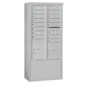 Salsbury Industries 3913D-15AFP Free-Standing 4C Horizontal Mailbox Unit-13 Door High Unit (69-1/4 Inches)-Double Column-15 MB1 Doors / 1 PL4 and 1 PL5-Aluminum-Front Loading-Private Access
