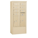 Salsbury Industries 3914D-07SFU Free-Standing 4C Horizontal Mailbox Unit - 14 Door High Unit (69-1/4 Inches) - Double Column - 7 MB2 Doors / 2 PL6's - Sandstone - Front Loading - USPS Access