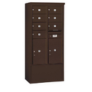 Salsbury Industries 3914D-07ZFP Free-Standing 4C Horizontal Mailbox Unit - 14 Door High Unit (69-1/4 Inches) - Double Column - 7 MB2 Doors / 2 PL6's - Bronze - Front Loading - Private Access