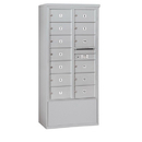 Salsbury Industries 3914D-13AFP Free-Standing 4C Horizontal Mailbox Unit - 14 Door High Unit (69-1/4 Inches) - Double Column - 13 MB2 Doors - Aluminum - Front Loading - Private Access