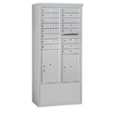 Salsbury Industries 3914D-15AFP Free-Standing 4C Horizontal Mailbox Unit-14 Door High Unit (69-1/4 Inches)-Double Column-15 MB1 Doors / 1 PL5 and 1 PL6-Aluminum-Front Loading-Private Access