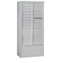 Salsbury Industries 3915D-15AFP Free-Standing 4C Horizontal Mailbox Unit - 15 Door High Unit (72 Inches) - Double Column - 15 MB1 Doors / 2 PL6's - Aluminum - Front Loading - Private Access