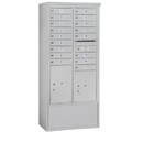 Salsbury Industries 3915D-17AFP Free-Standing 4C Horizontal Mailbox Unit - 15 Door High Unit (72 Inches) - Double Column - 17 MB1 Doors / 1 PL5 and 1 PL6 - Aluminum - Front Loading - Private Access