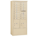 Salsbury Industries 3915D-18SFP Free-Standing 4C Horizontal Mailbox Unit - 15 Door High Unit (72 Inches) - Double Column - 18 MB1 Doors / 2 PL5's - Sandstone - Front Loading - Private Access