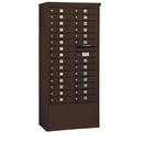 Salsbury Industries 3915D-28ZFP Free-Standing 4C Horizontal Mailbox Unit - 15 Door High Unit (72 Inches) - Double Column - 28 MB1 Doors - Bronze - Front Loading - Private Access
