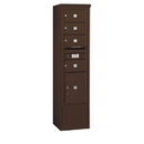 Salsbury Industries 3915S-04ZFP Free-Standing 4C Horizontal Mailbox Unit - 15 Door High Unit (72 Inches) - Single Column - 4 MB2 Doors / 1 PL5 - Bronze - Front Loading - Private Access