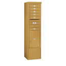 Salsbury Industries 3915S-06GFP Free-Standing 4C Horizontal Mailbox Unit - 15 Door High Unit (72 Inches) - Single Column - 6 MB1 Doors / 1 PL6 - Gold - Front Loading - Private Access
