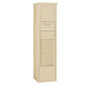 Salsbury Industries 3915S-1CSF Free-Standing 4C Horizontal Collection Box (Includes 3715S-1CSF and 3915S-SAN Enclosure) - 15 Door High Unit (72 Inches) - Single Column - Sandstone - Front Access