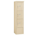 Salsbury Industries 3915S-3PSFU Free-Standing 4C Horizontal Mailbox Unit-15 Door High Unit (72 Inches)-Single Column-Stand-Alone Parcel Locker-3 PL5's-Sandstone-Front Loading-USPS Access