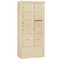 Salsbury Industries 3916D-07SFU Free-Standing 4C Horizontal Mailbox Unit-Maximum Height Unit (72 Inches)-Double Column-1 MB2 Door / 6 MB3 Doors / 2 PL4.5's-Sandstone-Front Loading-USPS Access