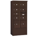 Salsbury Industries 3916D-07ZFP Free-Standing 4C Horizontal Mailbox Unit-Maximum Height Unit (72 Inches)-Double Column-1 MB2 Door / 6 MB3 Doors / 2 PL4.5's-Bronze-Front Loading-Private Access