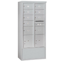 Salsbury Industries 3916D-09AFP Free-Standing 4C Horizontal Mailbox Unit-Maximum Height Unit (72 Inches)-Double Column-7 MB2 Doors / 2 MB3 Doors / 2 PL4.5's-Aluminum-Front Loading-Private Access
