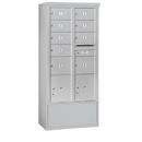 Salsbury Industries 3916D-09AFU Free-Standing 4C Horizontal Mailbox Unit-Maximum Height Unit (72 Inches)-Double Column-7 MB2 Doors / 2 MB3 Doors / 2 PL4.5's-Aluminum-Front Loading-USPS Access
