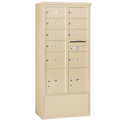 Salsbury Industries 3916D-09SFU Free-Standing 4C Horizontal Mailbox Unit-Maximum Height Unit (72 Inches)-Double Column-7 MB2 Doors / 2 MB3 Doors / 2 PL4.5's-Sandstone-Front Loading-USPS Access