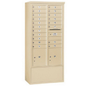 Salsbury Industries 3916D-19SFP Free-Standing 4C Horizontal Mailbox Unit - Maximum Height Unit (72 Inches) - Double Column - 19 MB1 Doors / 2 PL4.5's - Sandstone - Front Loading - Private Access