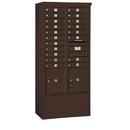 Salsbury Industries 3916D-19ZFP Free-Standing 4C Horizontal Mailbox Unit - Maximum Height Unit (72 Inches) - Double Column - 19 MB1 Doors / 2 PL4.5's - Bronze - Front Loading - Private Access