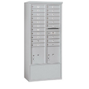 Salsbury Industries 3916D-20AFP Free-Standing 4C Horizontal Mailbox Unit - Maximum Height Unit (72 Inches) - Double Column - 20 MB1 Doors / 2 PL4.5's - Aluminum - Front Loading - Private Access