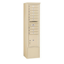 Salsbury Industries 3916S-09SFP Free-Standing 4C Horizontal Mailbox Unit - Maximum Height Unit (72 Inches) - Single Column - 9 MB1 Doors / 1 PL4.5 - Sandstone - Front Loading - Private Access
