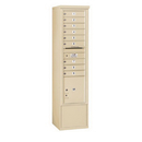 Salsbury Industries 3916S-09SFU Free-Standing 4C Horizontal Mailbox Unit - Maximum Height Unit (72 Inches) - Single Column - 9 MB1 Doors / 1 PL4.5 - Sandstone - Front Loading - USPS Access