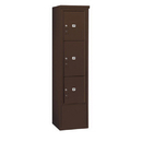 Salsbury Industries 3916S-3PZFP Free-Standing 4C Horizontal Mailbox Unit-Maximum Height Unit (72 Inches)-Single Column-Stand-Alone Parcel Locker-1 PL4.5, 1 PL5 and 1 PL6-Bronze-Front Loadin