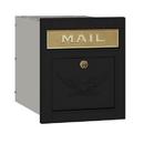 Salsbury Industries 4145E-BLK Cast Aluminum Column Mailbox - Locking - Eagle Door - Black