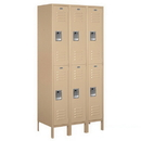 Salsbury Industries 62368TN-U Standard Metal Locker - Double Tier - 3 Wide - 6 Feet High - 18 Inches Deep - Tan - Unassembled