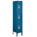 Salsbury Industries 63155BL-A Standard Metal Locker - Triple Tier - 1 Wide - 5 Feet High - 15 Inches Deep - Blue - Assembled