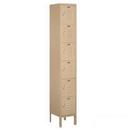 Salsbury Industries 66162TN-U Standard Metal Locker - Six Tier Box Style - 1 Wide - 6 Feet High - 12 Inches Deep - Tan - Unassembled