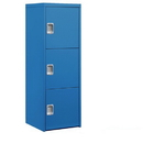 Salsbury Industries 7123BLU Welded Industrial Storage Cabinet - Three Doors - 72 Inches High - 24 Inches Deep - Blue