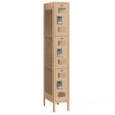 Salsbury Industries 73168TN-U Vented Metal Locker - Triple Tier - 1 Wide - 6 Feet High - 18 Inches Deep - Tan - Unassembled
