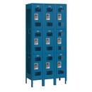 Salsbury Industries 73362BL-U Vented Metal Locker - Triple Tier - 3 Wide - 6 Feet High - 12 Inches Deep - Blue - Unassembled