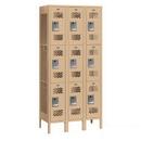 Salsbury Industries 73362TN-U Vented Metal Locker - Triple Tier - 3 Wide - 6 Feet High - 12 Inches Deep - Tan - Unassembled
