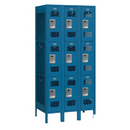 Salsbury Industries 73368BL-U Vented Metal Locker - Triple Tier - 3 Wide - 6 Feet High - 18 Inches Deep - Blue - Unassembled