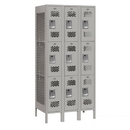 Salsbury Industries 73368GY-U Vented Metal Locker - Triple Tier - 3 Wide - 6 Feet High - 18 Inches Deep - Gray - Unassembled