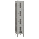 Salsbury Industries 84168GY-A Extra Wide Vented Metal Locker - Four Tier - 1 Wide - 6 Feet High - 18 Inches Deep - Gray - Assembled