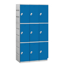 Salsbury Industries 93368BL-A Plastic Locker - Triple Tier - 3 Wide - 73 Inches High - 18 Inches Deep - Blue - Assembled