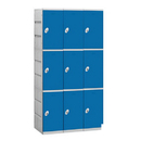 Salsbury Industries 93368BL-U Plastic Locker - Triple Tier - 3 Wide - 73 Inches High - 18 Inches Deep - Blue - Unassembled
