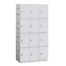 Salsbury Industries 94368GY-A Plastic Locker - Four Tier - 3 Wide - 73 Inches High - 18 Inches Deep - Gray - Assembled