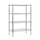 Salsbury Industries 9538S-CHR Wire Shelving - Stationary - 36 Inches Wide - 63 Inches High - 18 Inches Deep - Chrome