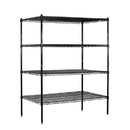Salsbury Industries 9544S-BLK Wire Shelving - Stationary - 48 Inches Wide - 63 Inches High - 24 Inches Deep - Black