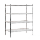 Salsbury Industries 9544S-CHR Wire Shelving - Stationary - 48 Inches Wide - 63 Inches High - 24 Inches Deep - Chrome