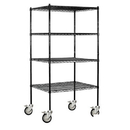 Salsbury Industries 9634M-BLK Wire Shelving - Mobile - 36 Inches Wide - 80 Inches High - 24 Inches Deep - Black