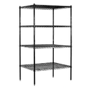 Salsbury Industries 9634S-BLK Wire Shelving - Stationary - 36 Inches Wide - 74 Inches High - 24 Inches Deep - Black