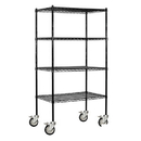 Salsbury Industries 9638M-BLK Wire Shelving - Mobile - 36 Inches Wide - 80 Inches High - 18 Inches Deep - Black