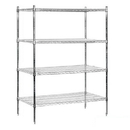 Salsbury Industries 9644S-CHR Wire Shelving - Stationary - 48 Inches Wide - 74 Inches High - 24 Inches Deep - Chrome