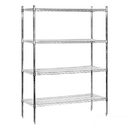 Salsbury Industries 9648S-CHR Wire Shelving - Stationary - 48 Inches Wide - 74 Inches High - 18 Inches Deep - Chrome