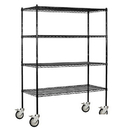 Salsbury Industries 9658M-BLK Wire Shelving - Mobile - 60 Inches Wide - 80 Inches High - 18 Inches Deep - Black