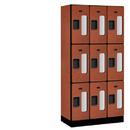 Salsbury Industries S-33368CHE See-Through Designer Wood Locker - Triple Tier - 3 Wide - 6 Feet High - 18 Inches Deep - Cherry